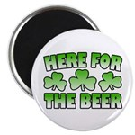"Here for the Beer Shamrock 2.25"" Magnet (100 pack)"