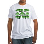 Here for the Beer Shamrock Fitted T-Shirt