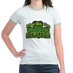 Kiss Me I'm Single Shamrock Jr. Ringer T-Shirt