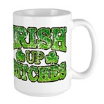 Distressed Drink Up Bitches Shamrock Large Mug