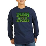 Distressed Drink Up Bitches Shamrock Long Sleeve D