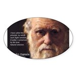 Charles Darwin: Evolution Oval Sticker