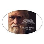 Charles Darwin: God Creation Oval Sticker