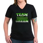 Team Green Women's V-Neck Dark T-Shirt