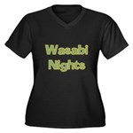Wasabi Nights Women's Plus Size V-Neck Dark T-Shir