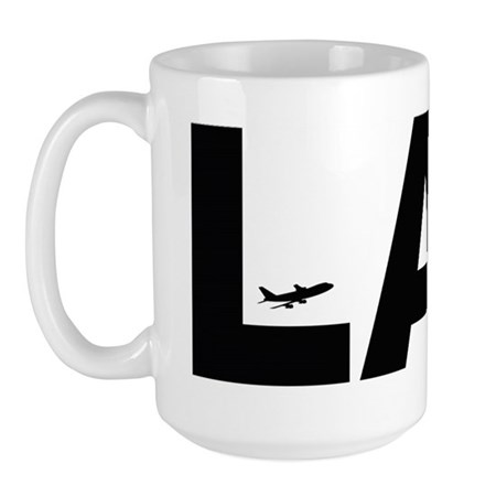 Los Angeles LAX Airport Code Black Des. Large Mug