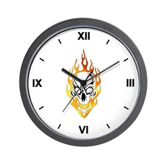 Skull and Flames Tatto Clock