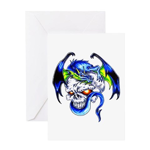 Dragon Skull Motorcycle Tattoo Greeting Card