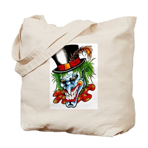 evil clown tattoos. Mad Evil Clown Tattoo Tote Bag