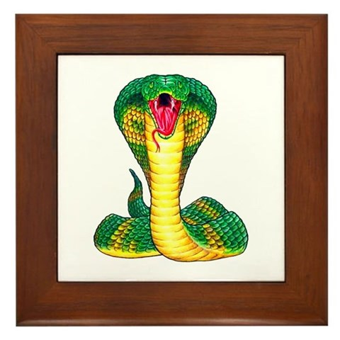Cobra Snake Tattoo Art Framed Tile