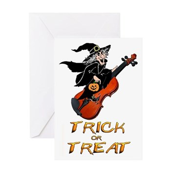 violin witch halloween card