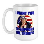 Support the Troops Uncle Sam Large Mug