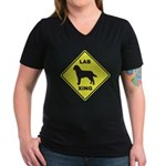 Labrador Xing Women's V-Neck Dark T-Shirt