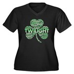 Twilight Shamrock Women's Plus Size V-Neck Dark T-