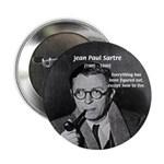 "Existentialist Jean-Paul Sartre 2.25"" Button (100"