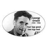 Modern Fable Writer Orwell Oval Sticker