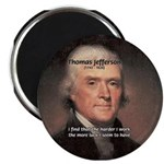 "Work and Luck Jefferson 2.25"" Magnet (100 pack)"