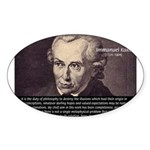 Immanuel Kant Reason Oval Sticker
