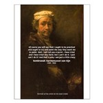 Renbrandt Self Portrait & Quote Small Poster