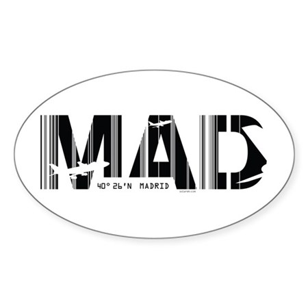 Madrid Airport Code Spain MAD Sticker (Oval)