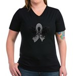 Diabetes Tribal Butterfly Women's V-Neck Dark T-Sh
