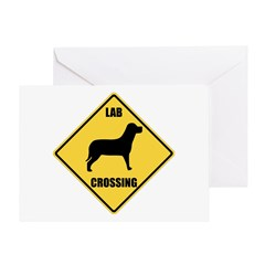 Labrador Retriever Crossing Sign Greeting Cards