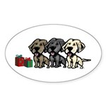 Labrador Christmas Oval Sticker