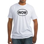 Wow Funny European Oval Fitted T-Shirt