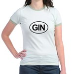 GIN Alcohol Booze Drink Oval Jr. Ringer T-Shirt