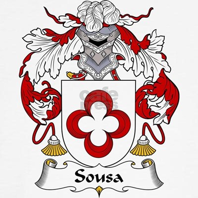 The Sousa Family Crest. Be proud of your genealogy and family name! Get this detailed & authentic design on cool t-shirts, mugs, magnets, & more.