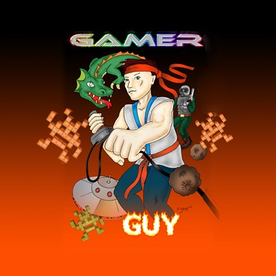 Gamer Guy title on image featuring a guy in fighting pose holding joystick with dragon UFO soldier asteroids and arcade aliens in background