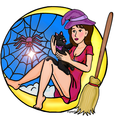 Witch sits with her pet black cat and friend spider on the moon