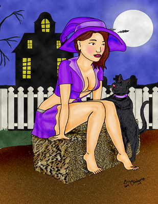 sexy witch and her pet black cat seated in front of a haunted house