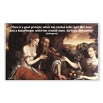 Pythagoras Quote on Women Rectangle Sticker