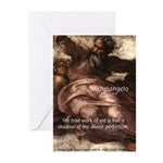 Michelangelo Perfection Quote Greeting Cards (Pack